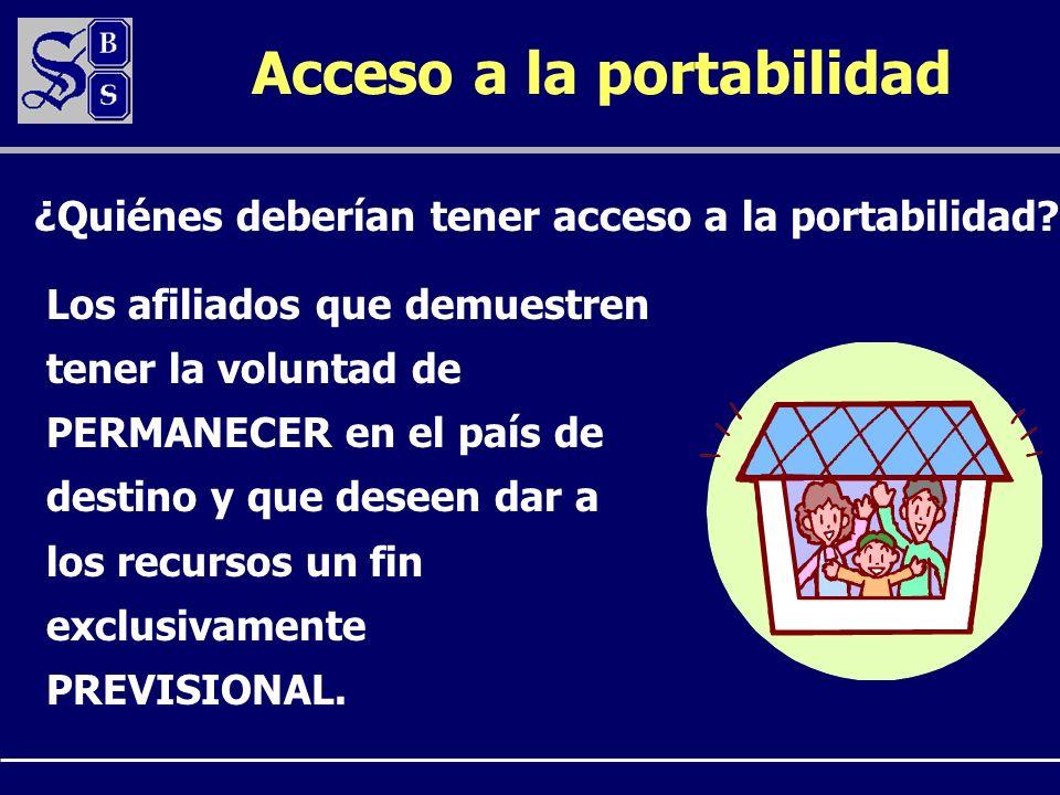 Acceso a la portabilidad ¿Quiénes deberían tener acceso a la portabilidad? Los afiliados que demuestren tener la voluntad de PERMANECER en el país de