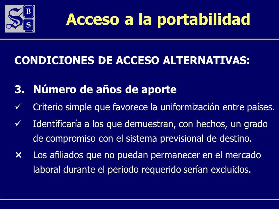 Acceso a la portabilidad 3.Número de años de aporte Criterio simple que favorece la uniformización entre países. Identificaría a los que demuestran, c