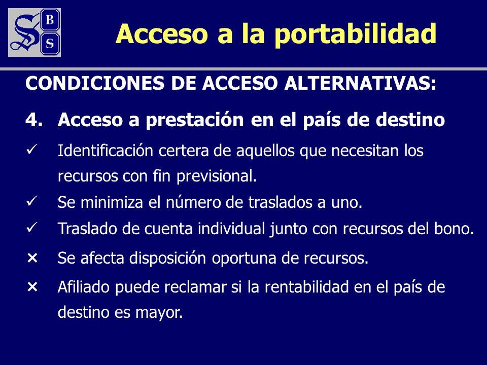 Acceso a la portabilidad 4.Acceso a prestación en el país de destino Identificación certera de aquellos que necesitan los recursos con fin previsional.