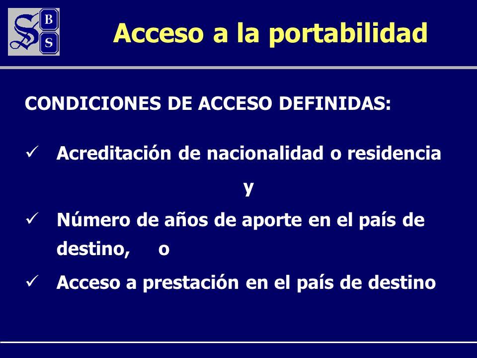 Acceso a la portabilidad Acreditación de nacionalidad o residencia y Número de años de aporte en el país de destino, o Acceso a prestación en el país de destino CONDICIONES DE ACCESO DEFINIDAS: