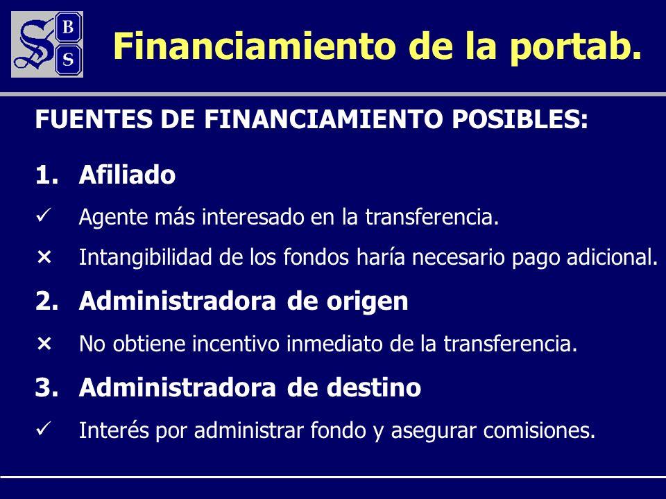 Financiamiento de la portab. 1.Afiliado Agente más interesado en la transferencia. Intangibilidad de los fondos haría necesario pago adicional. 2.Admi