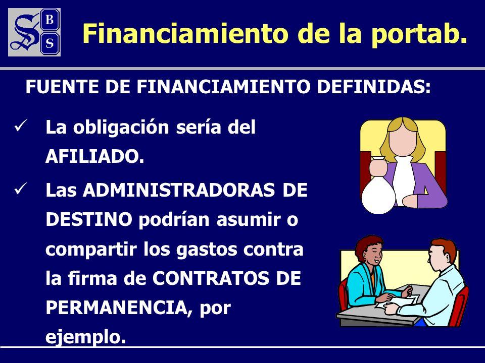 Financiamiento de la portab. La obligación sería del AFILIADO.