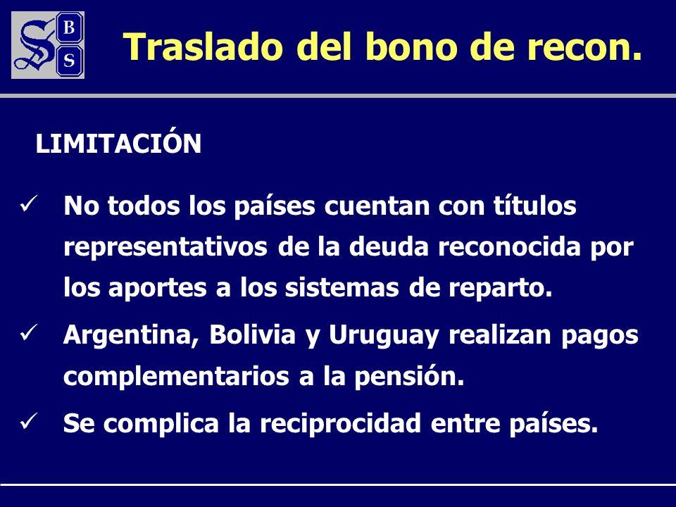 Traslado del bono de recon. No todos los países cuentan con títulos representativos de la deuda reconocida por los aportes a los sistemas de reparto.