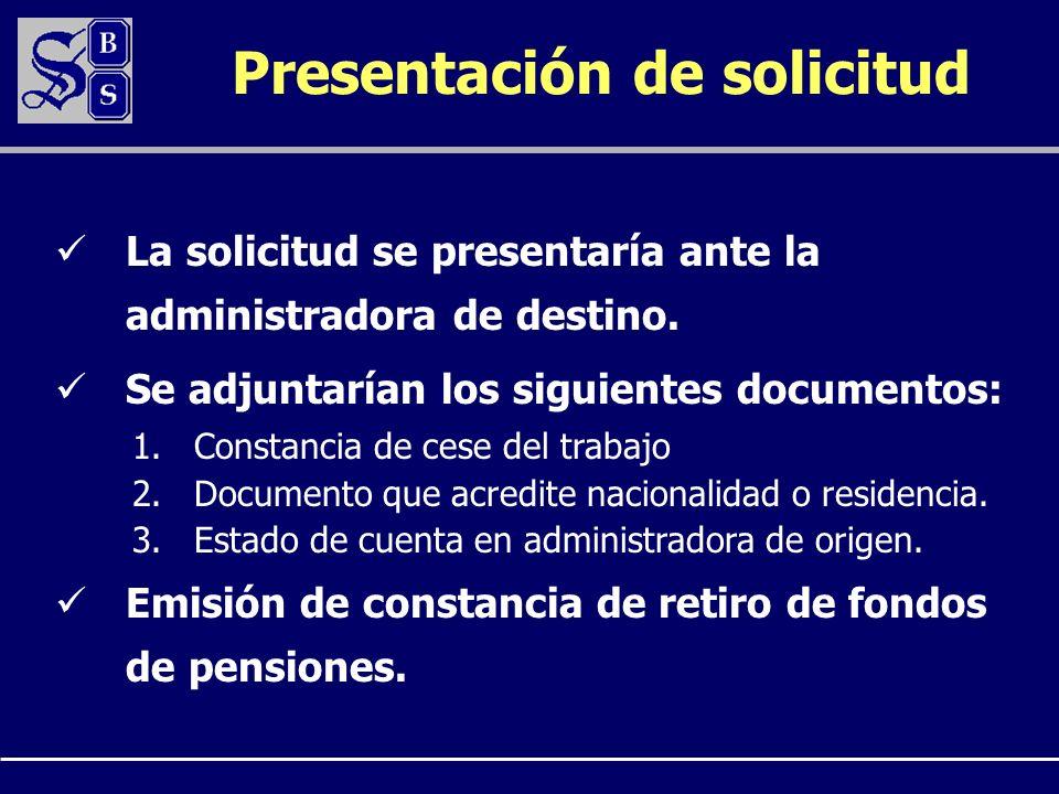 Presentación de solicitud La solicitud se presentaría ante la administradora de destino. Se adjuntarían los siguientes documentos: 1.Constancia de ces