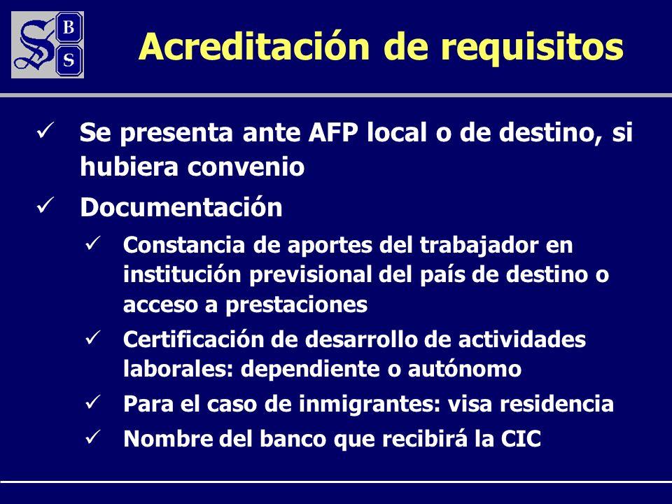 Acreditación de requisitos Se presenta ante AFP local o de destino, si hubiera convenio Documentación Constancia de aportes del trabajador en instituc