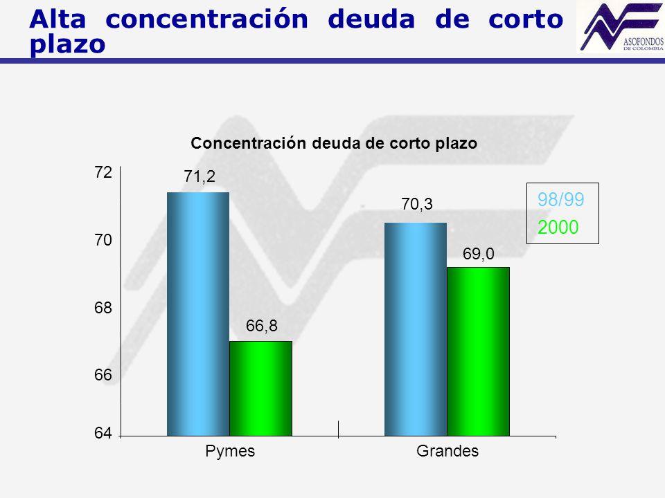 Concentración deuda de corto plazo 71,2 70,3 66,8 69,0 64 66 68 70 72 PymesGrandes 98/99 2000 Alta concentración deuda de corto plazo