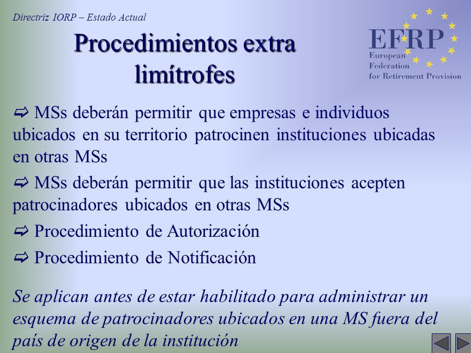 Procedimientos extra limítrofes MSs deberán permitir que empresas e individuos ubicados en su territorio patrocinen instituciones ubicadas en otras MS