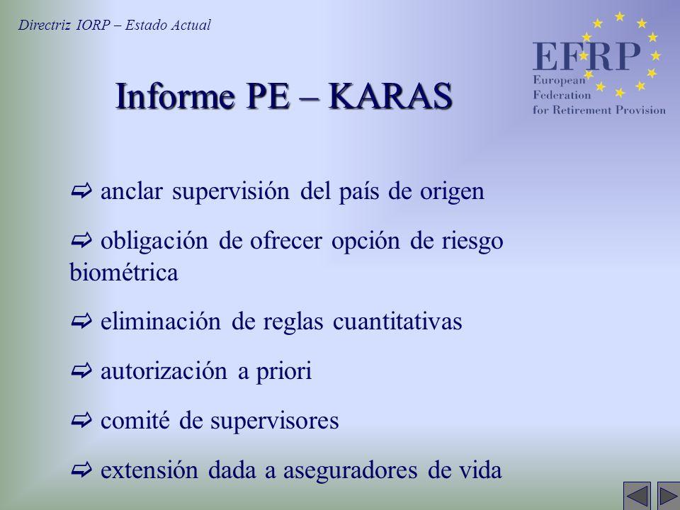 Informe PE – KARAS Directriz IORP – Estado Actual anclar supervisión del país de origen obligación de ofrecer opción de riesgo biométrica eliminación
