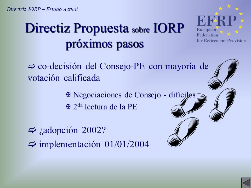 Directiz Propuesta sobre IORP próximos pasos co-decisión del Consejo-PE con mayoría de votación calificada X Negociaciones de Consejo - difíciles X 2 da lectura de la PE ¿adopción 2002.