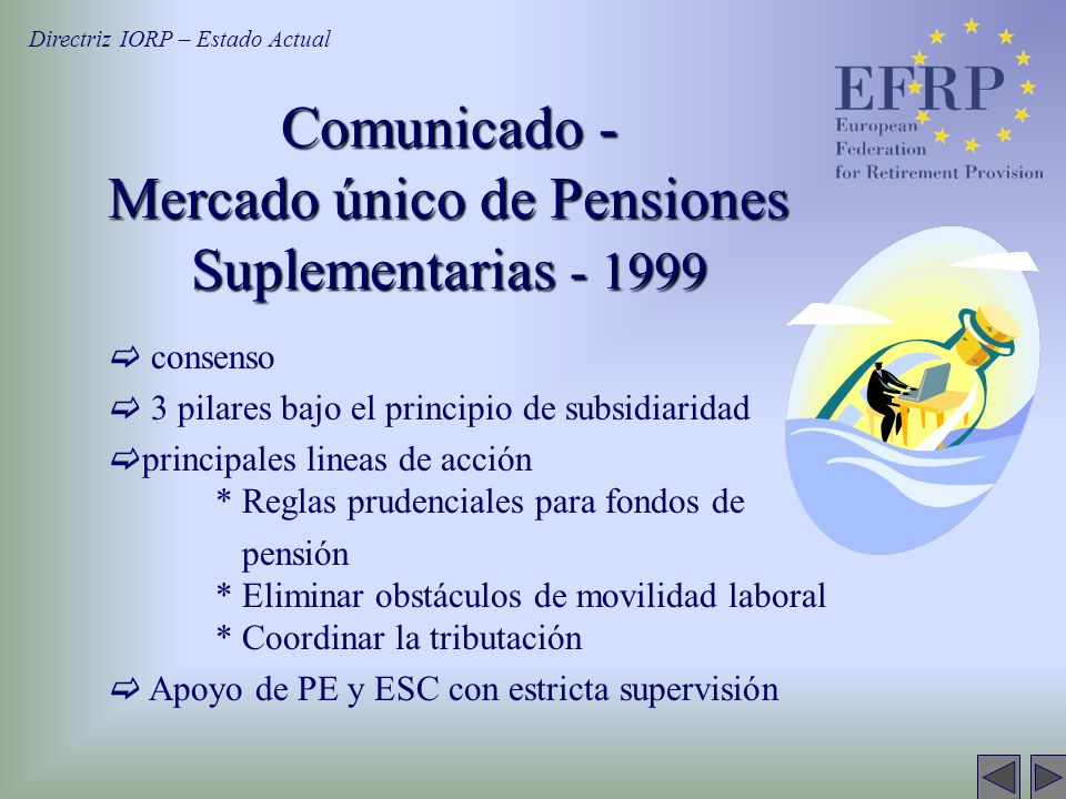 consenso 3 pilares bajo el principio de subsidiaridad principales lineas de acción * Reglas prudenciales para fondos de pensión * Eliminar obstáculos de movilidad laboral * Coordinar la tributación Apoyo de PE y ESC con estricta supervisión Comunicado - Mercado único de Pensiones Suplementarias - 1999 Directriz IORP – Estado Actual
