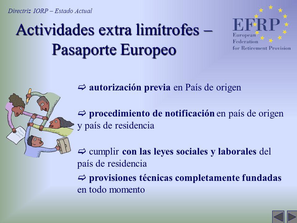 Actividades extra limítrofes – Pasaporte Europeo autorización previa en País de origen procedimiento de notificación en país de origen y país de resid