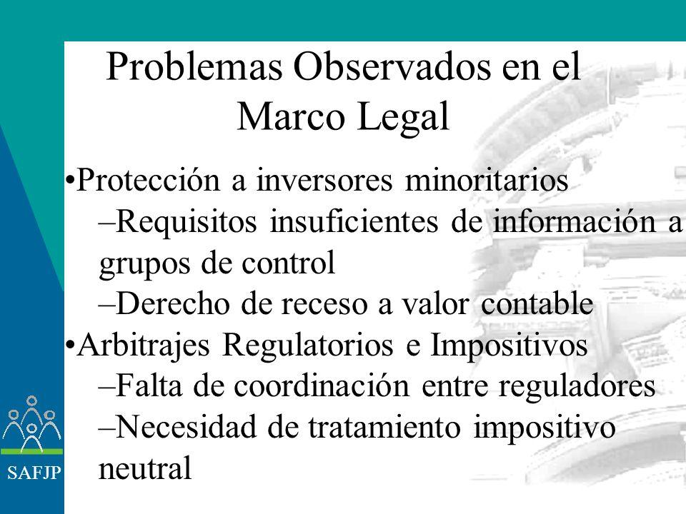 SAFJP Problemas Observados en el Marco Legal Ley Oferta Pública Ausencia de: –Normas de transparencia –Regulación OPA con rango legal –Tipificación de