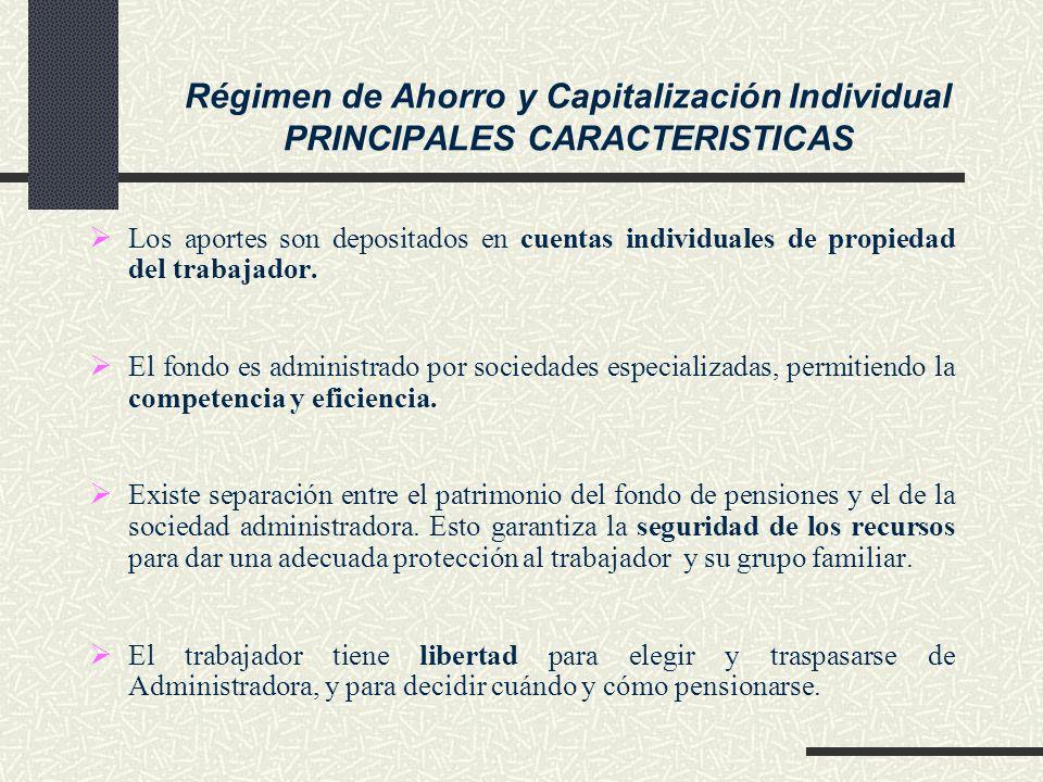 Los aportes son depositados en cuentas individuales de propiedad del trabajador. El fondo es administrado por sociedades especializadas, permitiendo l
