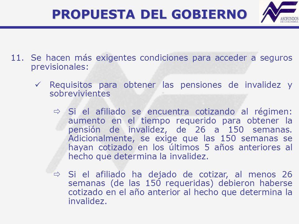 PROPUESTA DEL GOBIERNO 11.Se hacen más exigentes condiciones para acceder a seguros previsionales: Requisitos para obtener las pensiones de invalidez