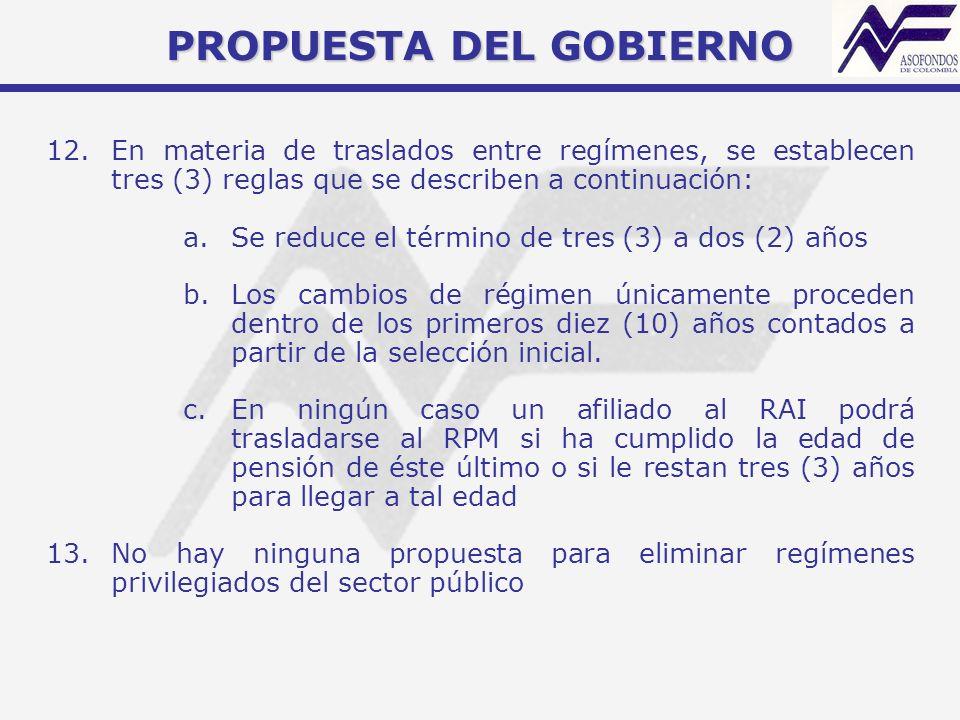PROPUESTA DEL GOBIERNO 12.En materia de traslados entre regímenes, se establecen tres (3) reglas que se describen a continuación: a.Se reduce el térmi