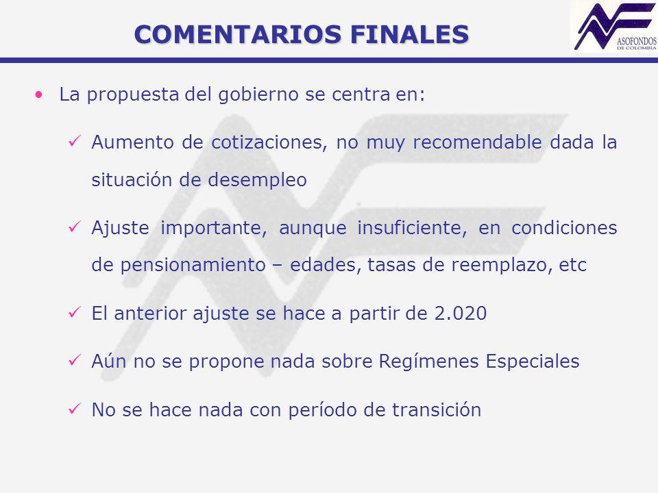 La propuesta del gobierno se centra en: Aumento de cotizaciones, no muy recomendable dada la situación de desempleo Ajuste importante, aunque insufici