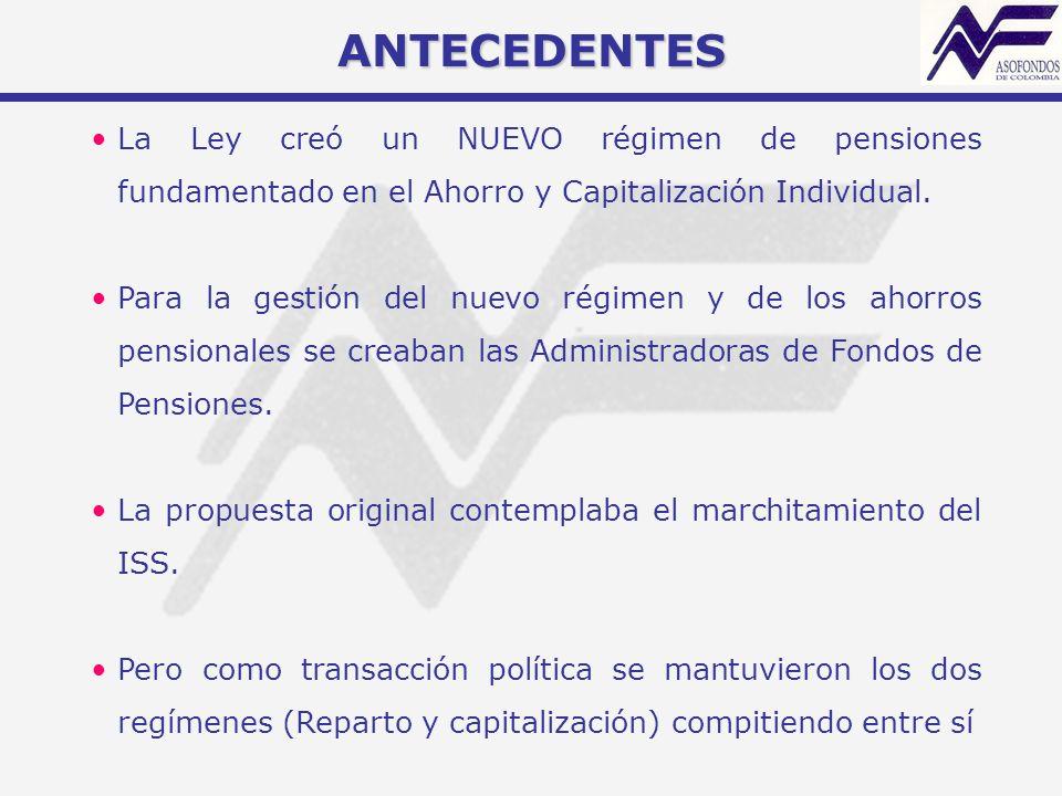 ANTECEDENTES La Ley creó un NUEVO régimen de pensiones fundamentado en el Ahorro y Capitalización Individual. Para la gestión del nuevo régimen y de l