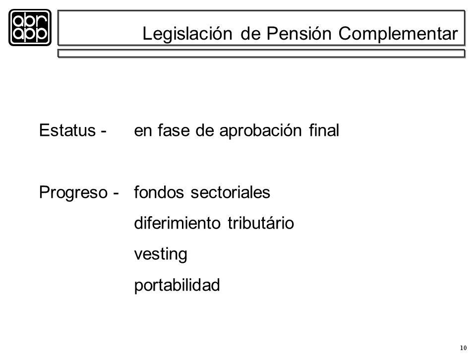 10 Legislación de Pensión Complementar Estatus -en fase de aprobación final Progreso -fondos sectoriales diferimiento tributário vesting portabilidad