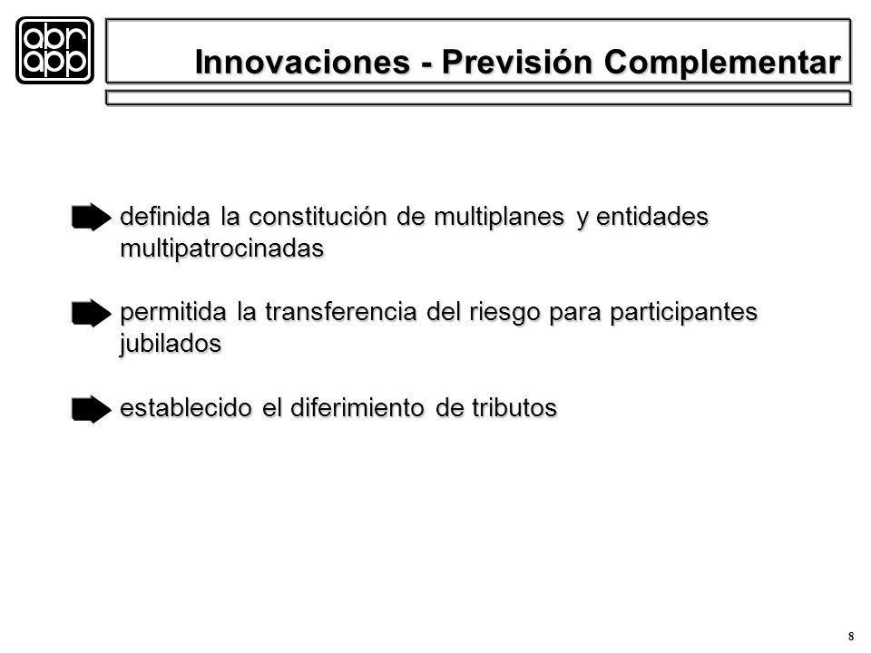 8 definida la constitución de multiplanes y entidades multipatrocinadas permitida la transferencia del riesgo para participantes jubilados establecido el diferimiento de tributos Innovaciones - Previsión Complementar