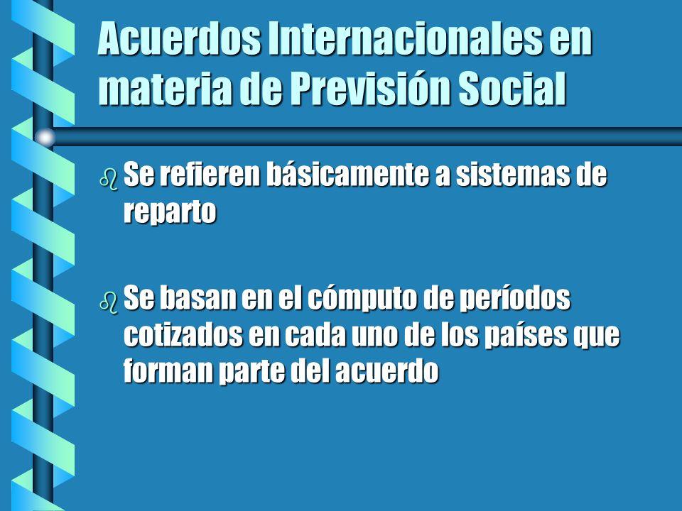 Acuerdo Multilateral del Mercosur - Régimen público b Totalización de períodos de cotización b Pago de prestaciones a prorrata b Período de cotización no inferior a 12 meses en cada país b Son computables servicios prestados en otros Estados, siempre que estos tengan convenios bilaterales con algún Estado parte