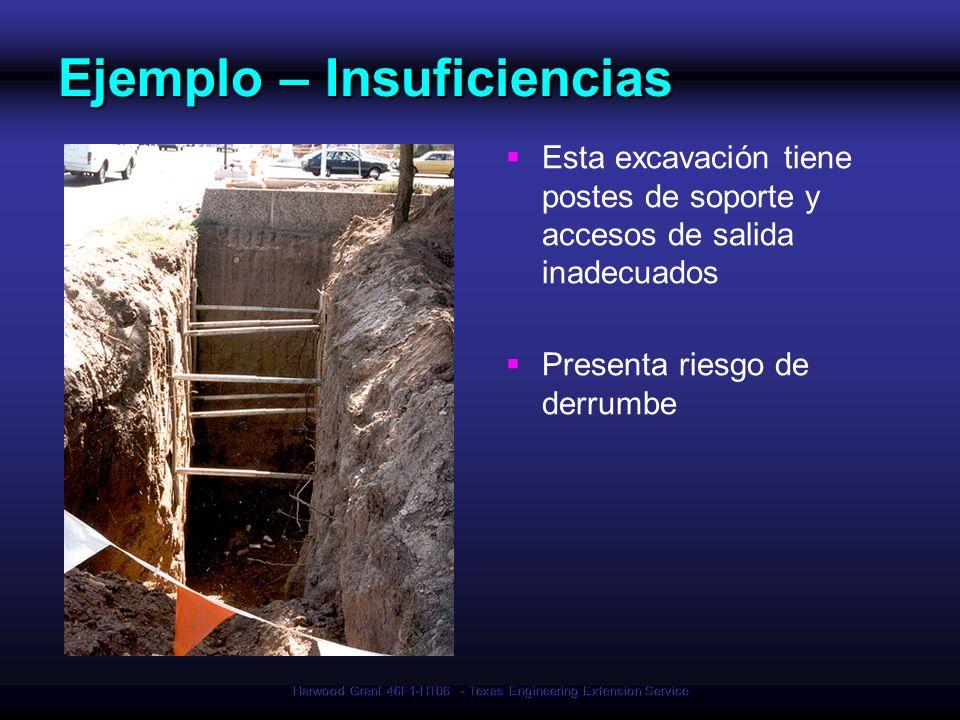 Harwood Grant 46F1-HT06 - Texas Engineering Extension Service Ejemplo – Insuficiencias Esta excavación tiene postes de soporte y accesos de salida ina