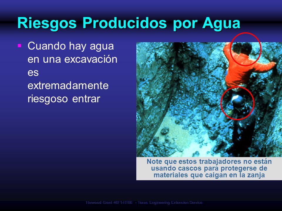 Harwood Grant 46F1-HT06 - Texas Engineering Extension Service Riesgos Producidos por Agua Cuando hay agua en una excavación es extremadamente riesgoso