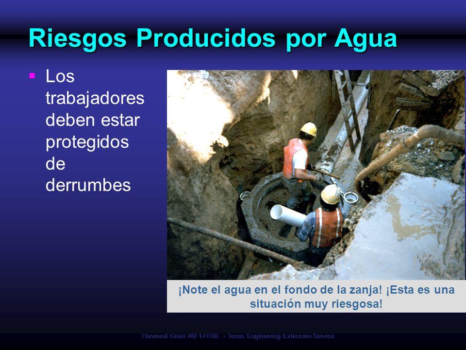 Harwood Grant 46F1-HT06 - Texas Engineering Extension Service Riesgos Producidos por Agua Los trabajadores deben estar protegidos de derrumbes ¡Note e