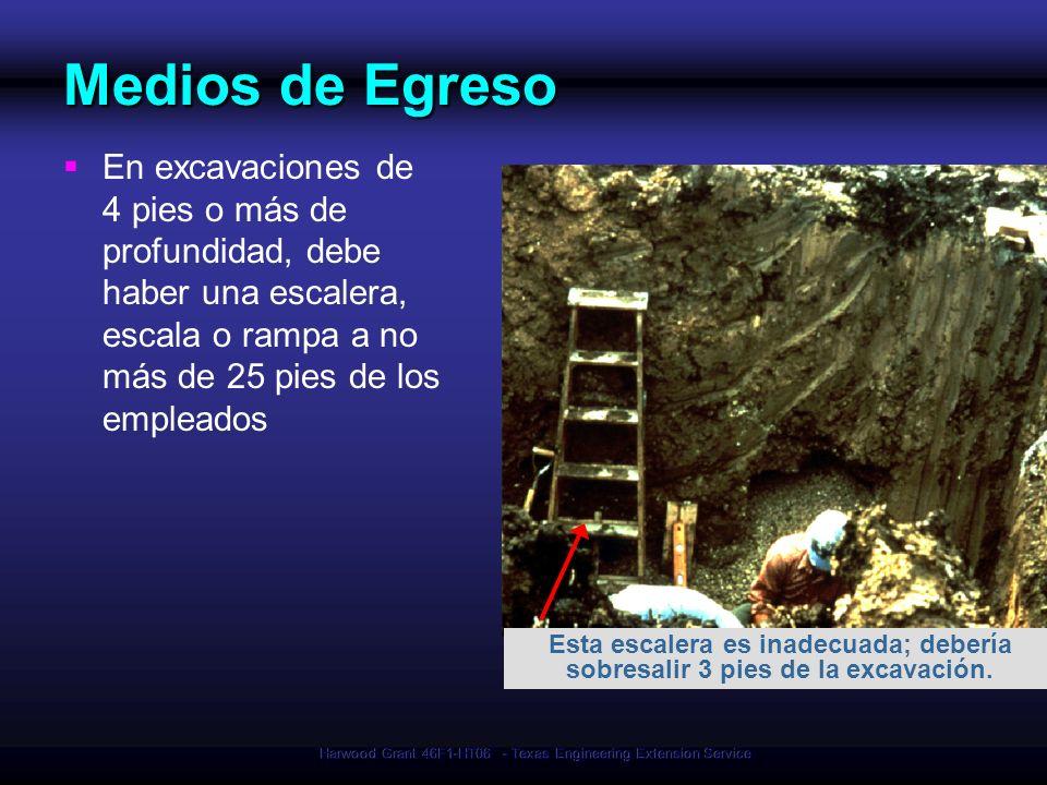 Harwood Grant 46F1-HT06 - Texas Engineering Extension Service Medios de Egreso En excavaciones de 4 pies o más de profundidad, debe haber una escalera