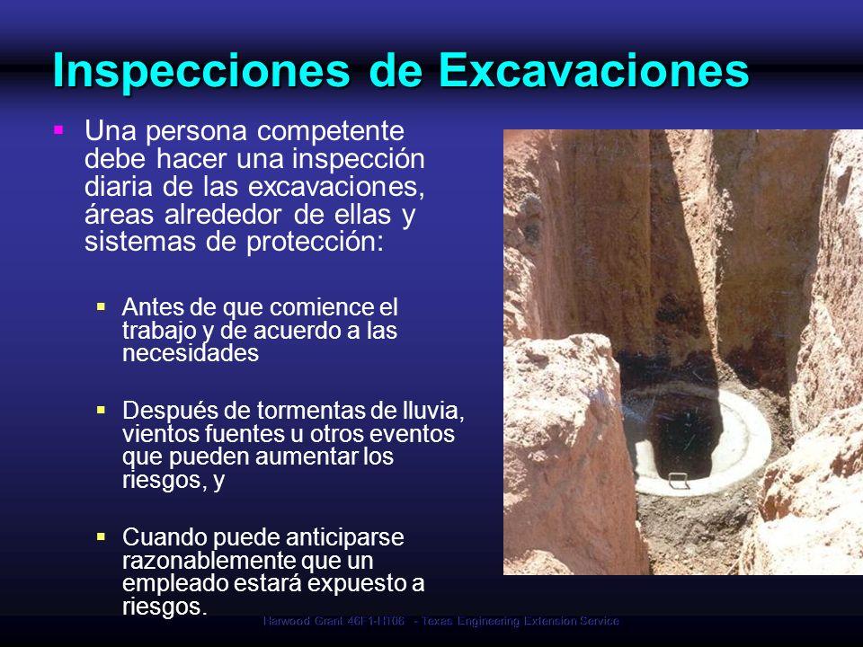 Harwood Grant 46F1-HT06 - Texas Engineering Extension Service Inspecciones de Excavaciones Una persona competente debe hacer una inspección diaria de