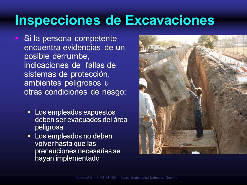 Harwood Grant 46F1-HT06 - Texas Engineering Extension Service Inspecciones de Excavaciones Si la persona competente encuentra evidencias de un posible