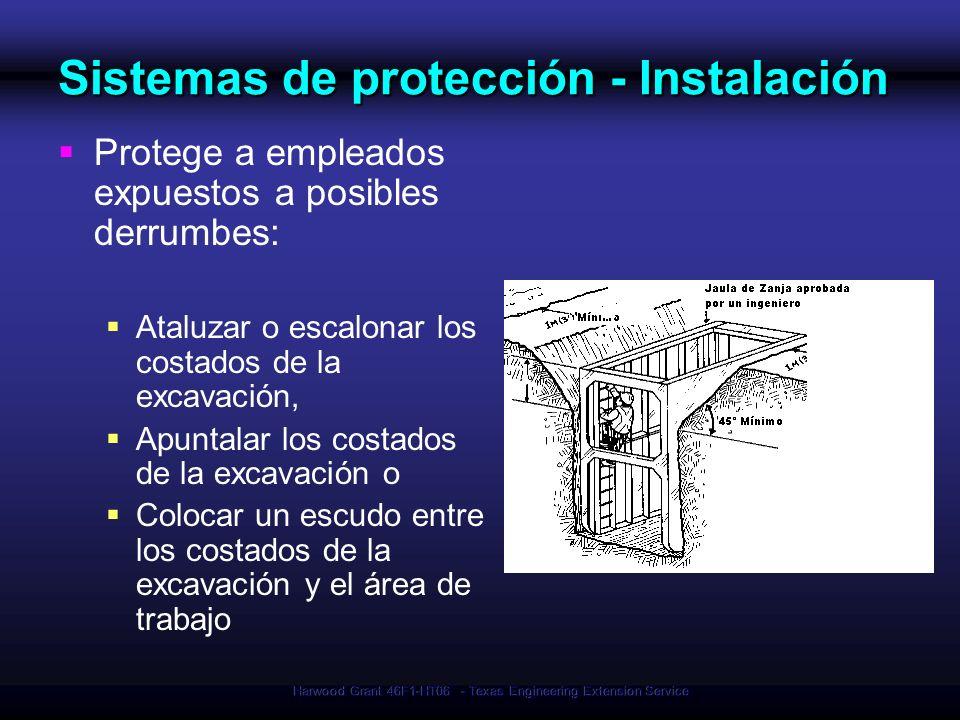 Harwood Grant 46F1-HT06 - Texas Engineering Extension Service Sistemas de protección - Instalación Protege a empleados expuestos a posibles derrumbes:
