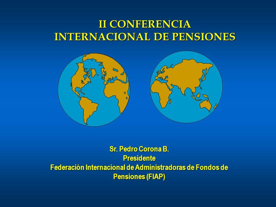 Sr. Pedro Corona B. Presidente Federación Internacional de Administradoras de Fondos de Pensiones (FIAP) II CONFERENCIA INTERNACIONAL DE PENSIONES