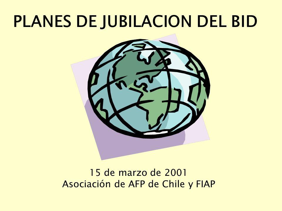 PLANES DE JUBILACION DEL BID 15 de marzo de 2001 Asociación de AFP de Chile y FIAP