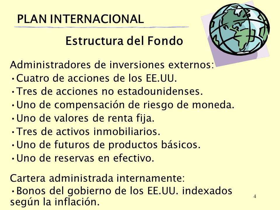 4 PLAN INTERNACIONAL Estructura del Fondo Administradores de inversiones externos: Cuatro de acciones de los EE.UU. Tres de acciones no estadounidense