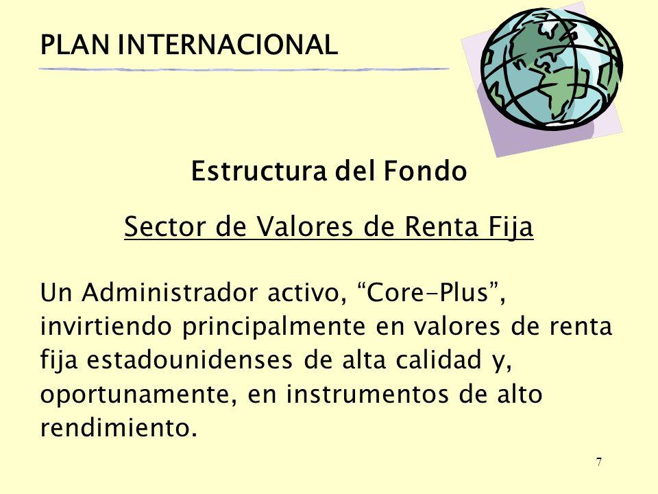 7 PLAN INTERNACIONAL Estructura del Fondo Sector de Valores de Renta Fija Un Administrador activo, Core-Plus, invirtiendo principalmente en valores de renta fija estadounidenses de alta calidad y, oportunamente, en instrumentos de alto rendimiento.