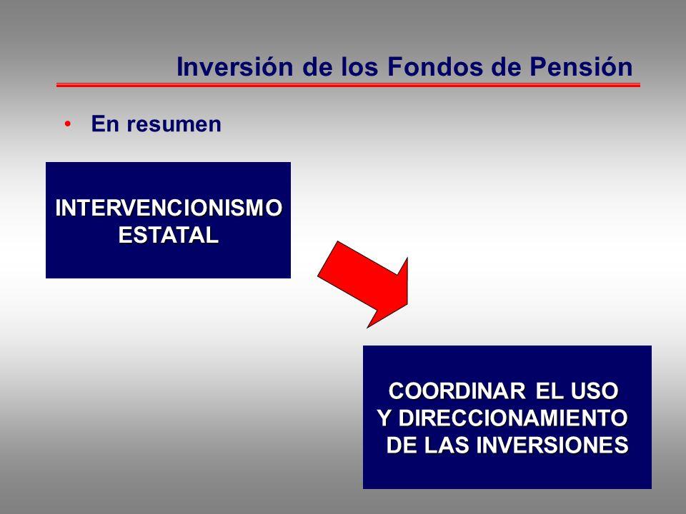 Inversión de los Fondos de Pensión En resumen INTERVENCIONISMOESTATAL COORDINAR EL USO Y DIRECCIONAMIENTO Y DIRECCIONAMIENTO DE LAS INVERSIONES