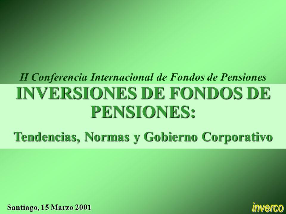 INVERSIONES DE FONDOS DE PENSIONES: Tendencias, Normas y Gobierno Corporativo Santiago, 15 Marzo 2001 II Conferencia Internacional de Fondos de Pensiones
