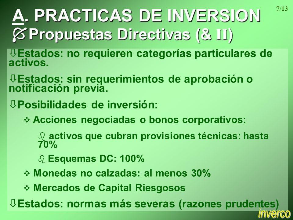 . A. PRACTICAS DE INVERSION Propuestas Directivas (& II ) Propuestas Directivas (& II ) ò Estados: no requieren categorías particulares de activos. ò