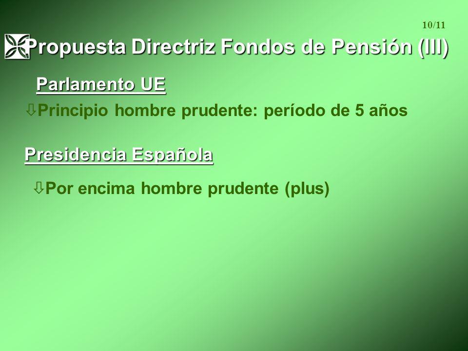 ò Principio hombre prudente: período de 5 años Ì Propuesta Directriz Fondos de Pensión (III) 10/11 Parlamento UE Presidencia Española ò Por encima hombre prudente (plus)