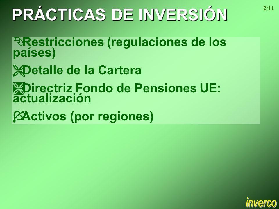 PRÁCTICAS DE INVERSIÓN Ê Restricciones (regulaciones de los países) Ë Detalle de la Cartera Ì Directriz Fondo de Pensiones UE: actualización Í Activos (por regiones) 2/11