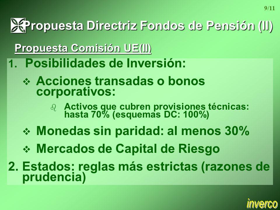 1. Posibilidades de Inversión: Acciones transadas o bonos corporativos: b Activos que cubren provisiones técnicas: hasta 70% (esquemas DC: 100%) v Mon
