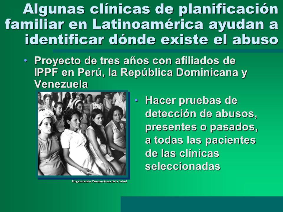 Algunas clínicas de planificación familiar en Latinoamérica ayudan a identificar dónde existe el abuso Proyecto de tres años con afiliados de IPPF en