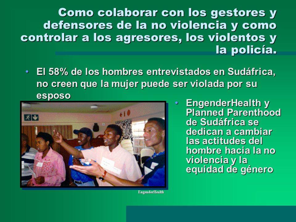 Como colaborar con los gestores y defensores de la no violencia y como controlar a los agresores, los violentos y la policía. EngenderHealth EngenderH