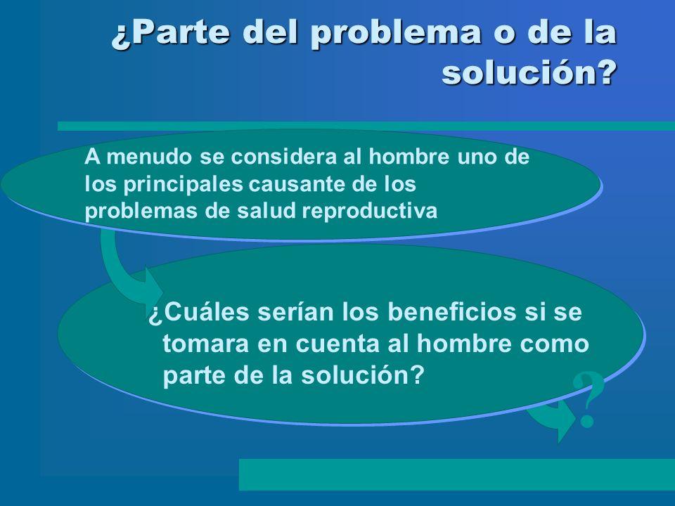 ¿Parte del problema o de la solución? A menudo se considera al hombre uno de los principales causante de los problemas de salud reproductiva ¿Cuáles s