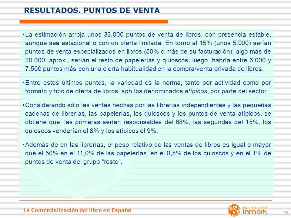 La Comercialización del libro en España 13 La estimación arroja unos 33.000 puntos de venta de libros, con presencia estable, aunque sea estacional o