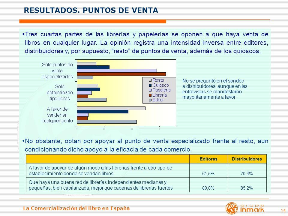 La Comercialización del libro en España 14 Tres cuartas partes de las librerías y papelerías se oponen a que haya venta de libros en cualquier lugar.