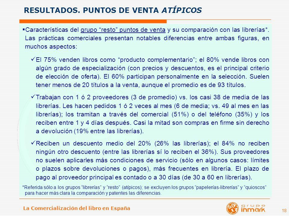 La Comercialización del libro en España 18 Características del grupo resto puntos de venta y su comparación con las librerías*. Las prácticas comercia
