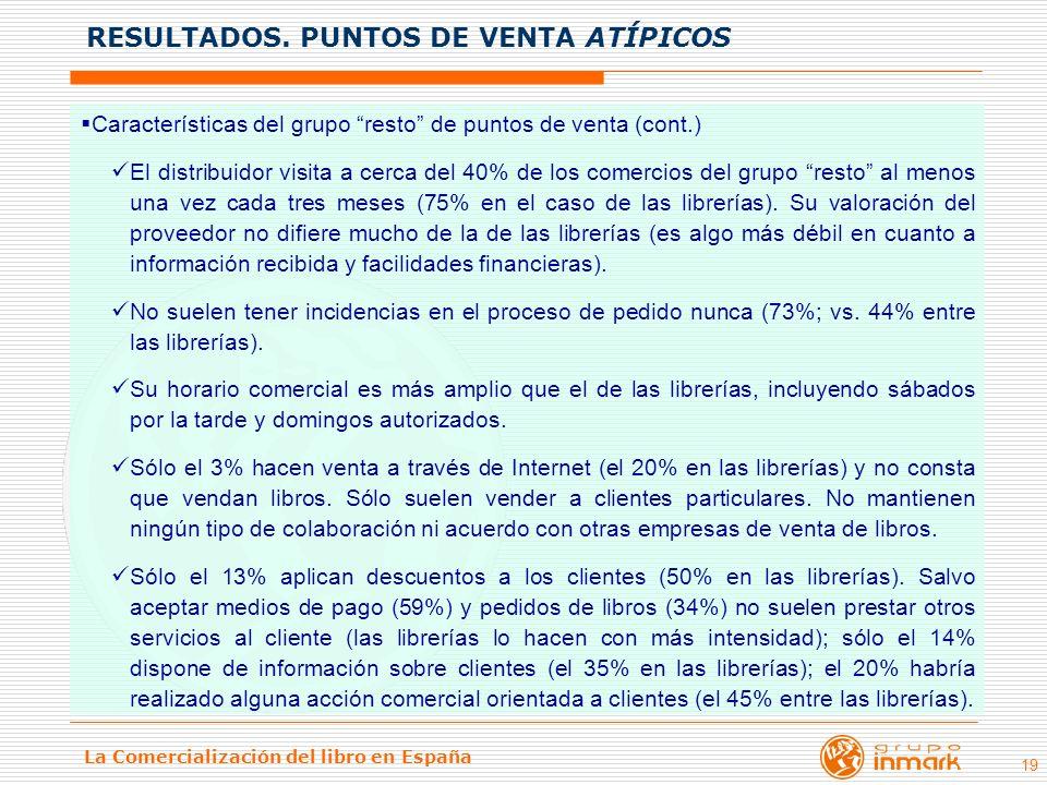 La Comercialización del libro en España 19 Características del grupo resto de puntos de venta (cont.) El distribuidor visita a cerca del 40% de los co