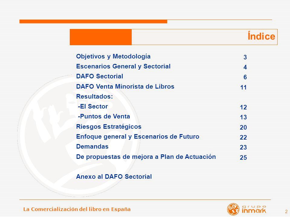 La Comercialización del libro en España 2 Índice Objetivos y Metodología Escenarios General y Sectorial DAFO Sectorial DAFO Venta Minorista de Libros