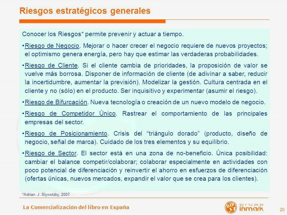 La Comercialización del libro en España 20 Conocer los Riesgos* permite prevenir y actuar a tiempo. Riesgo de Negocio. Mejorar o hacer crecer el negoc